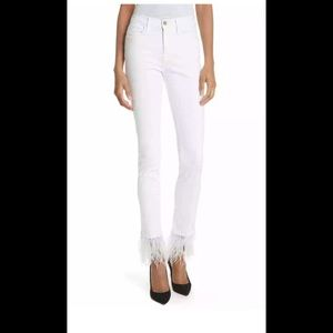 """Frame Le High Straight white Feather Hem Jeans 26"""""""